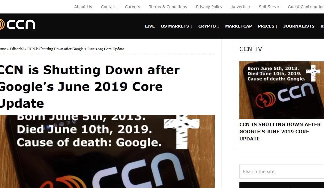 CCN Shutting Down; Cites Google Search Changes