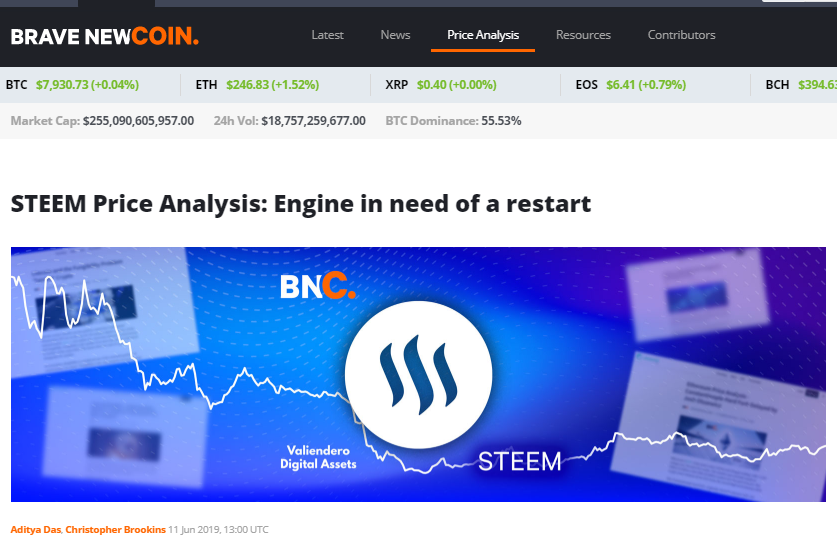 Brave New Coin Covers Steem But Missed Some Parts